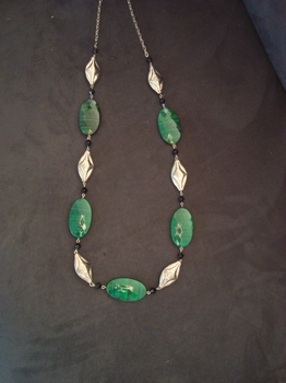 Halsketting groene steen