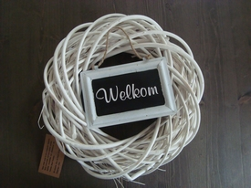 Witte Krans met welkom