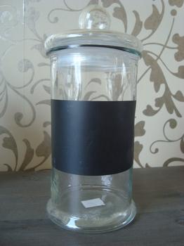 Glazen voorraadpot met krijtvlak