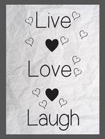 Muursticker live love Laugh met hartjes