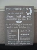 Tekstbord toiletregels