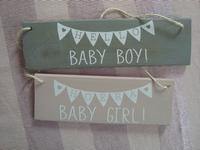 Houten bordje hello baby boy/baby girl